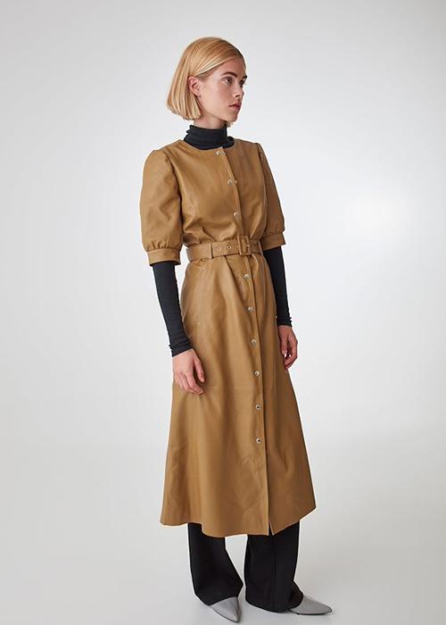 GESTUZ COGNAC LEATHER DRESS
