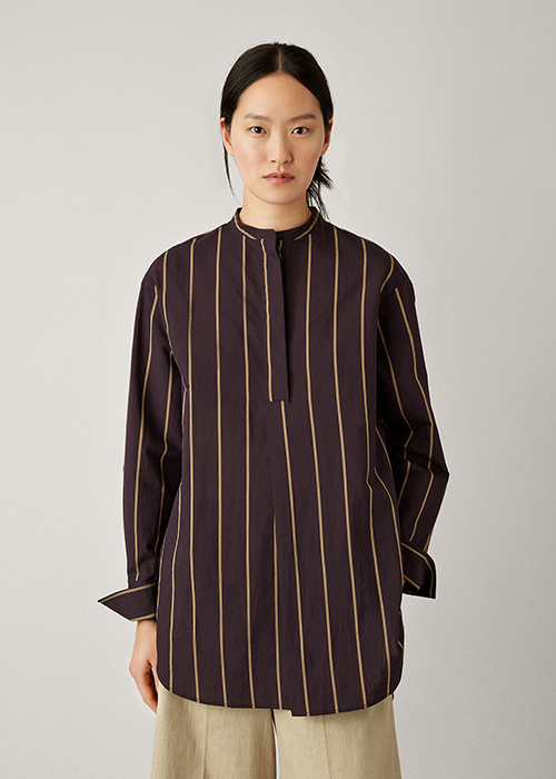 JOSEPH BLACK STRIPED BLOUSE