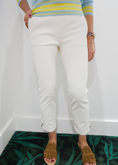ENES WHITE RELAX LEATHER PANTS