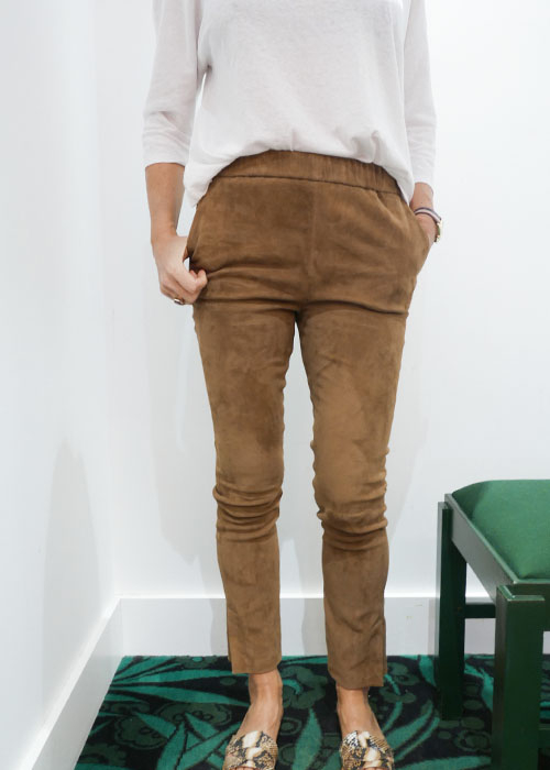 ENES SUEDE BROWN RELAX LEATHER PANTS