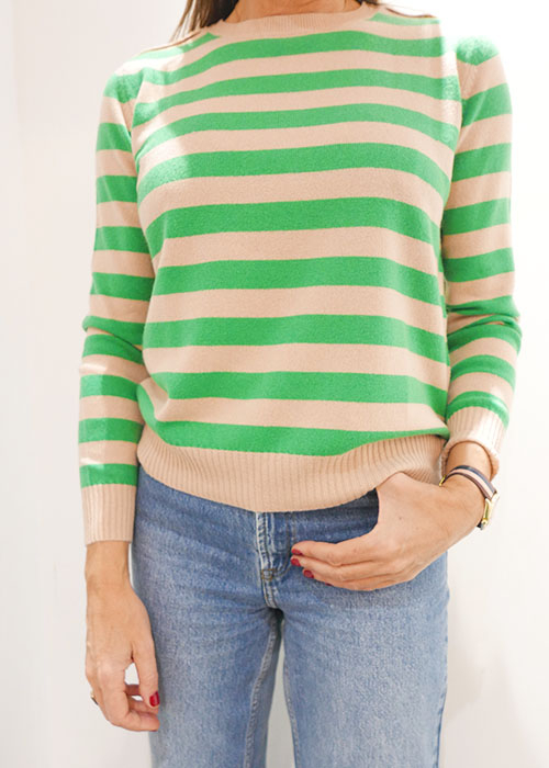 JUMPER GREEN/BLUSH STRIPED KNIT