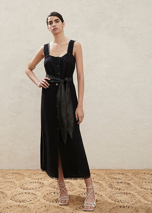 NANUSHKA BLACK BUTTON DOWN DRESS