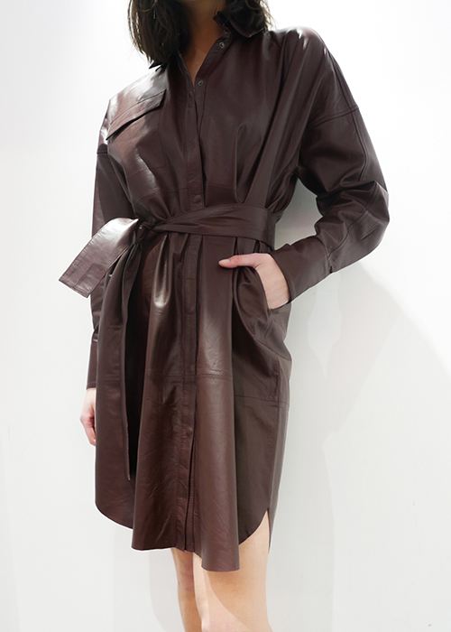 REMAIN BURGUNDY LEATHER SHIRTDRESS