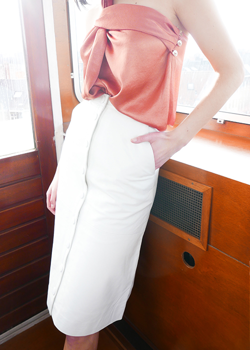 REMAIN WHITE LEATHER SKIRT