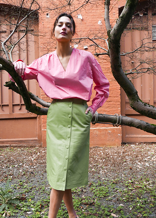 REMAIN GREEN LEATHER SKIRT