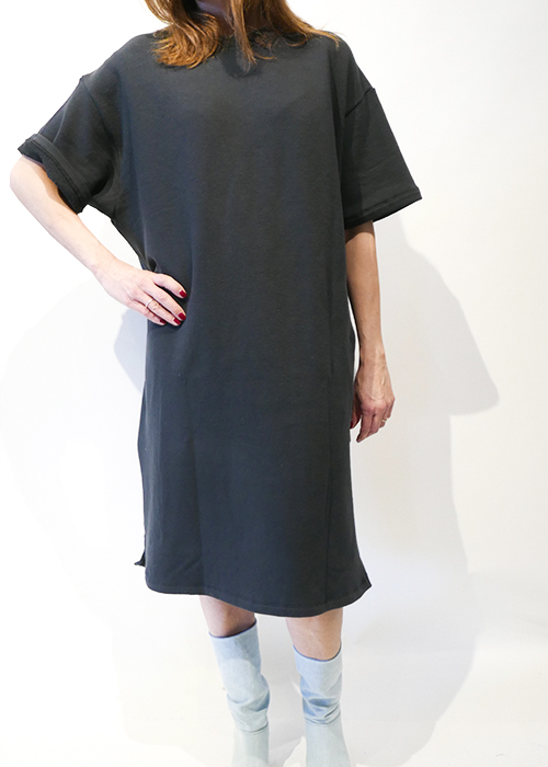 CAN PEP RAY DARK GREY SWEATER DRESS