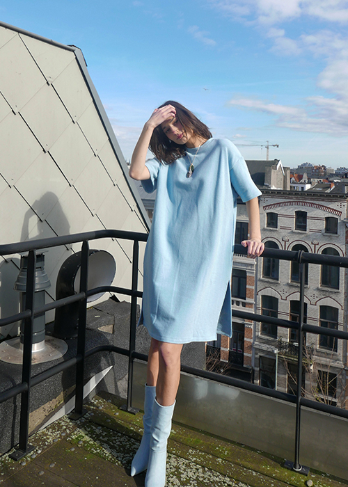 CAN PEP RAY BLUE SWEATER DRESS