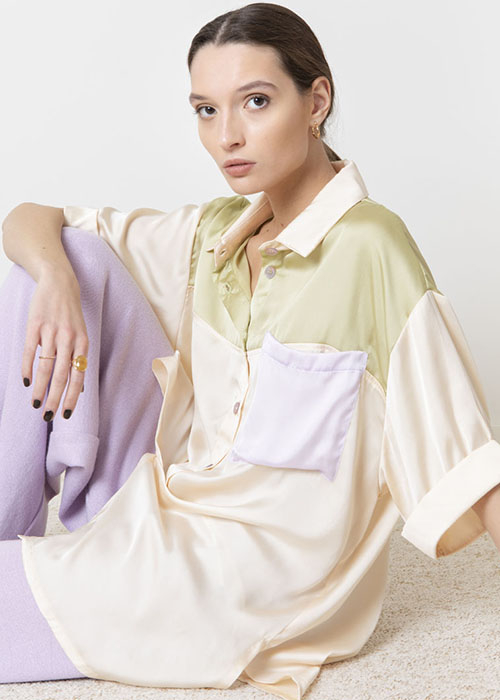 VALENTINE WITMEUR MULTI COLORED SATIN SHIRT