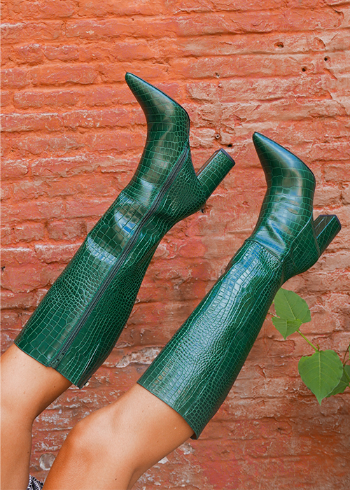 AUGUSTE GREEN CROCO BOOTS