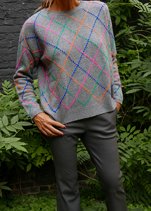 JUMPER1234 GREY CHECKED KNIT