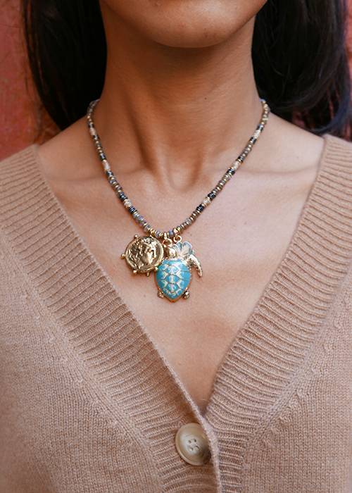 INDOCHINE BLUE TURTLE NECKLACE