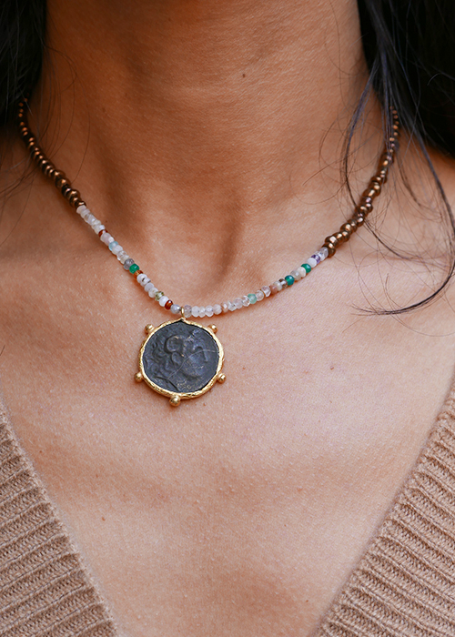 INDOCHINE BLACK COIN NECKLACE