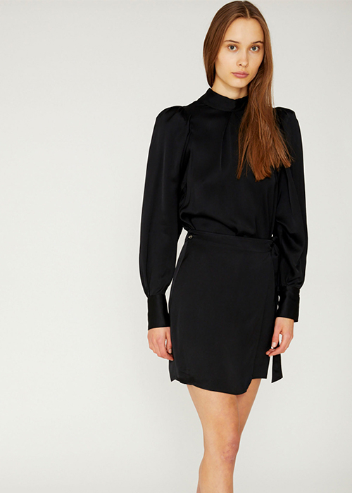 DESIGNERS REMIX SATIN BLACK DRESS