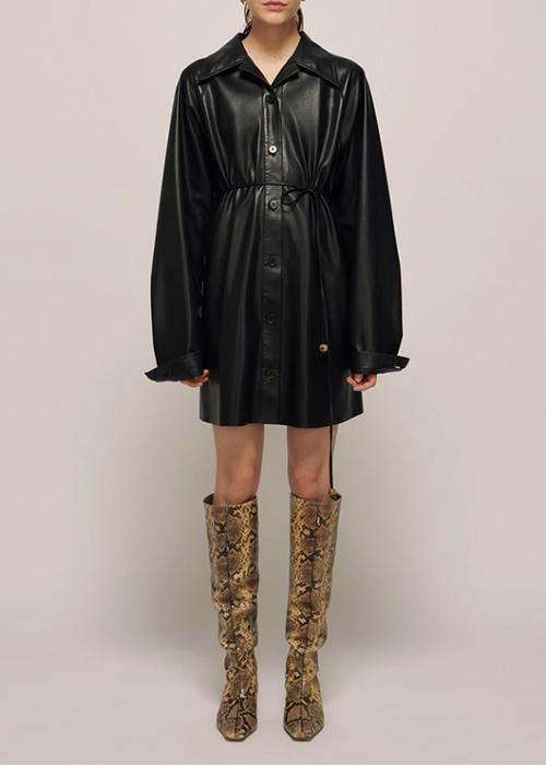 NANUSHKA BLACK VEGAN LEATHER DRESS
