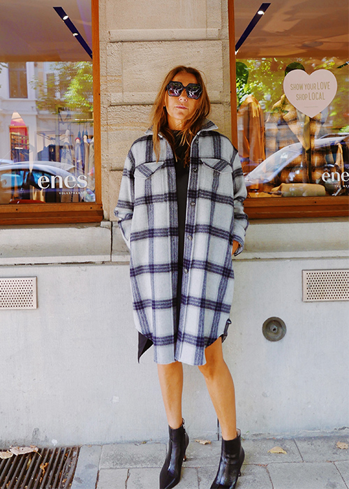 DESIGNERS REMIX OVERSIZED CHECKED COAT
