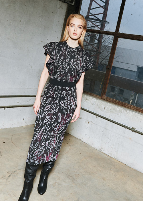 NUDE PURPLE/BLACK GLITTER DRESS