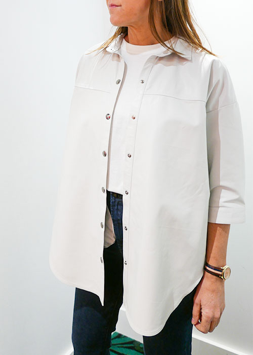 ENES WHITE LEATHER SHIRT
