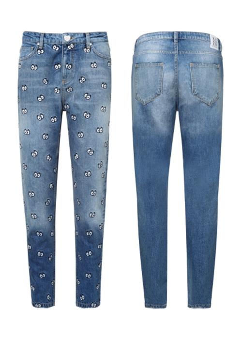 Cartoon eye boyfriend jeans